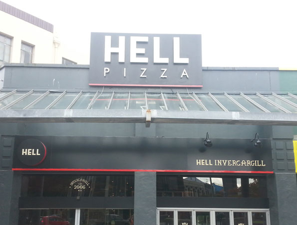 Hell Pizza Building Signage